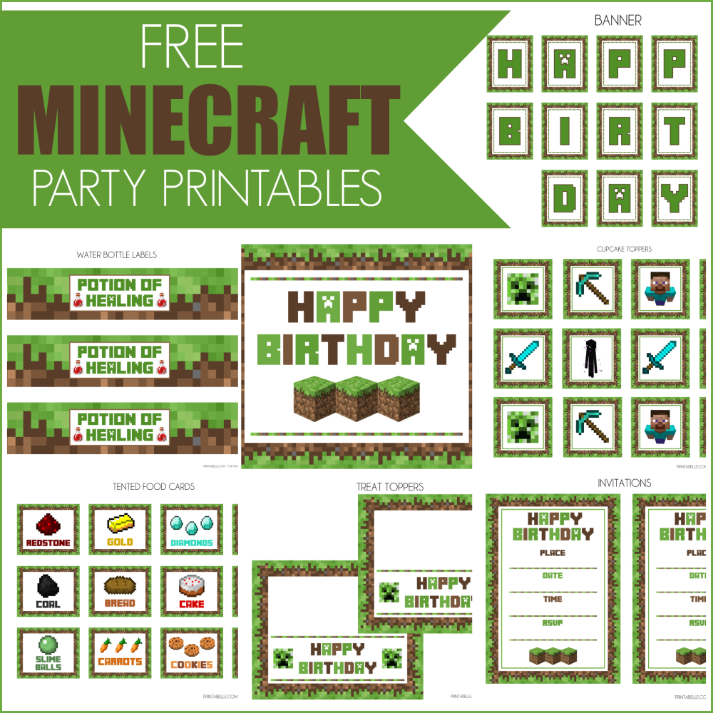 Declarative image throughout minecraft birthday printable