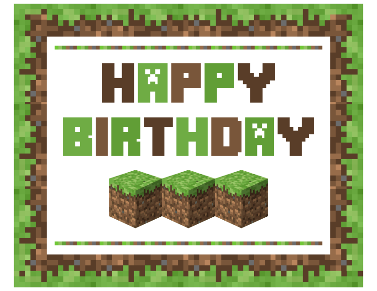 Critical image intended for minecraft birthday printable