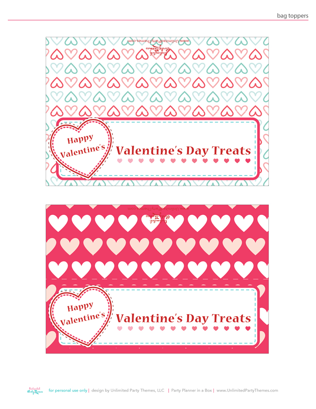 picture about Free Printable Bag Toppers Templates identify Cost-free Valentines Printables towards Countless Occasion Themes