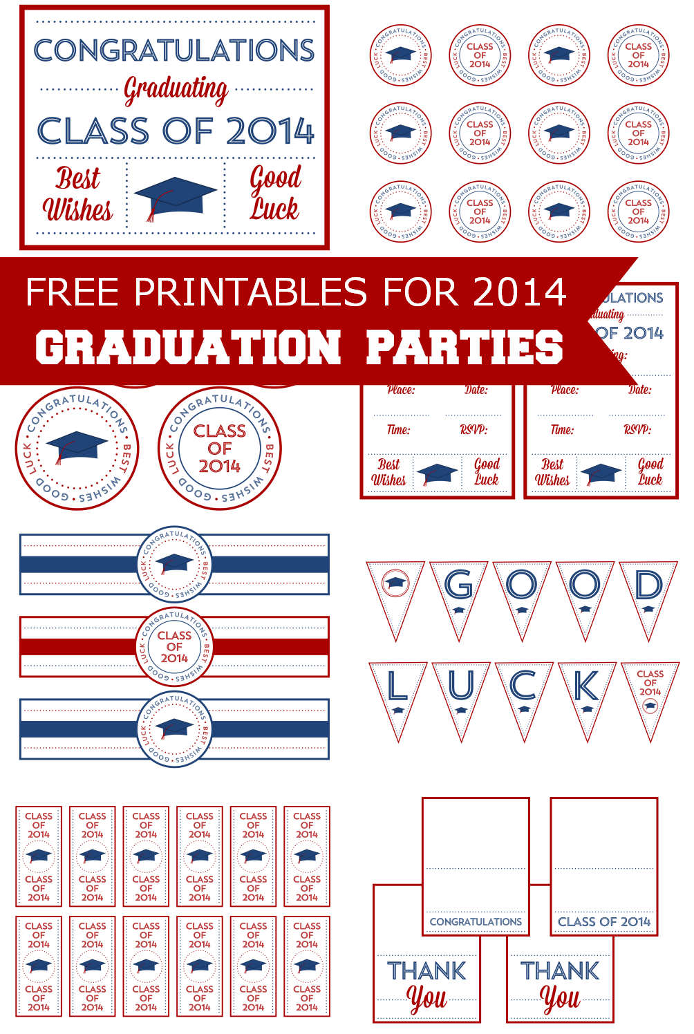 Free 2014 Graduation Party Printables from Printabelle | Catch My Party