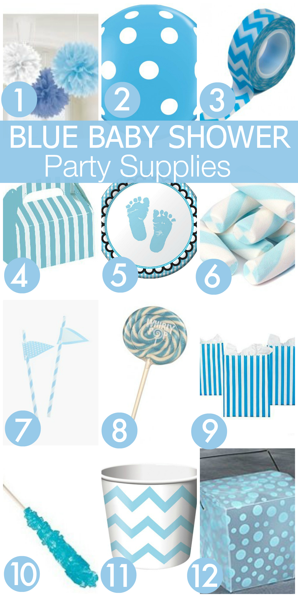 7 must haves for your blue baby shower catch my party for Baby shower decoration store