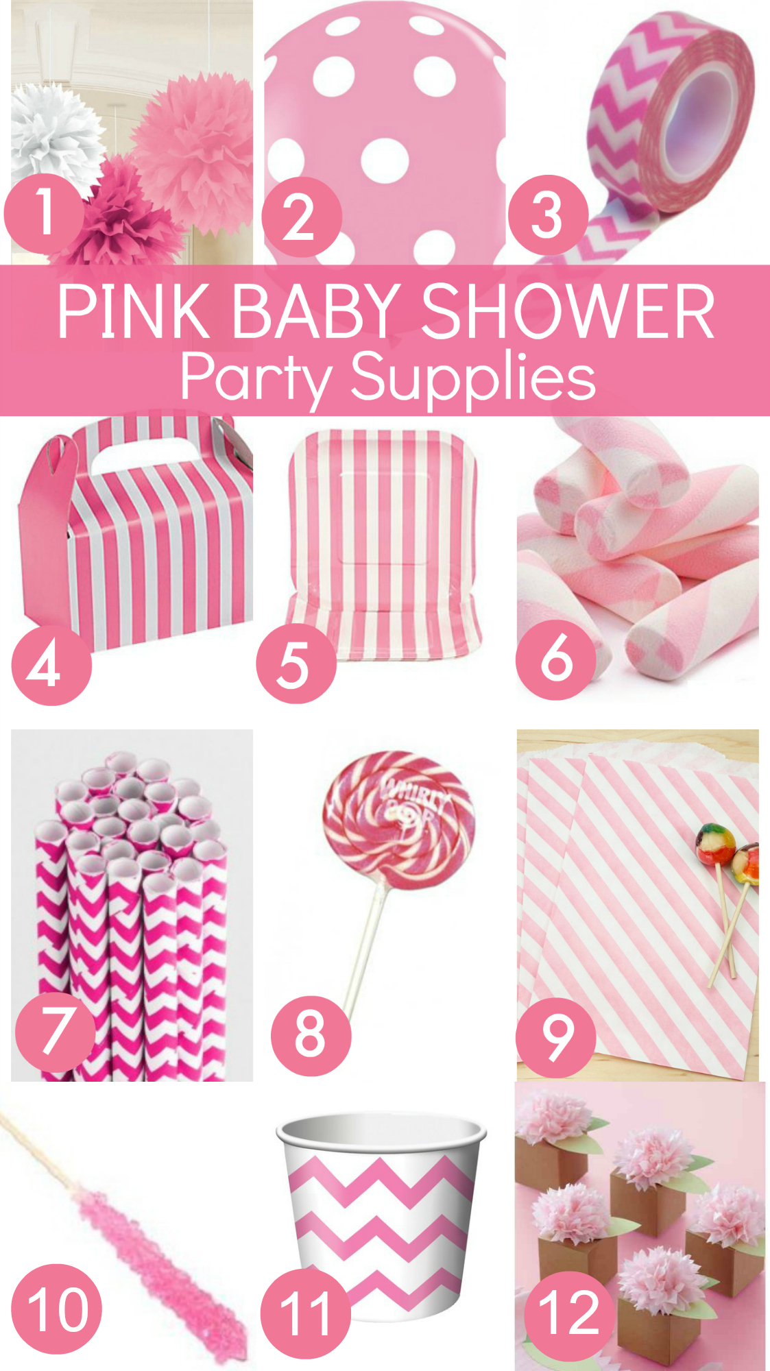 Pink baby shower ideas catch my party for Baby shower decoration store