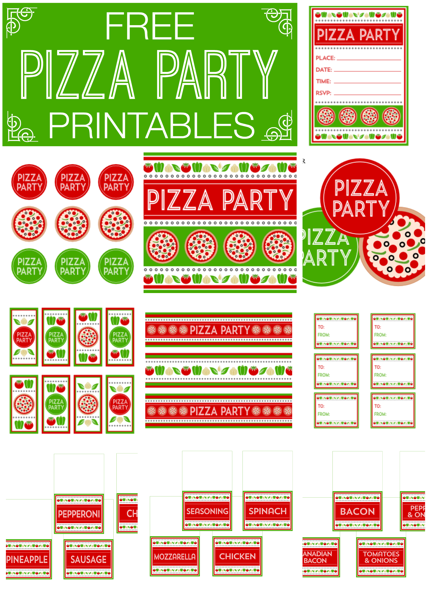 Free Pizza Party Printables from Printabelle | Catch My Party