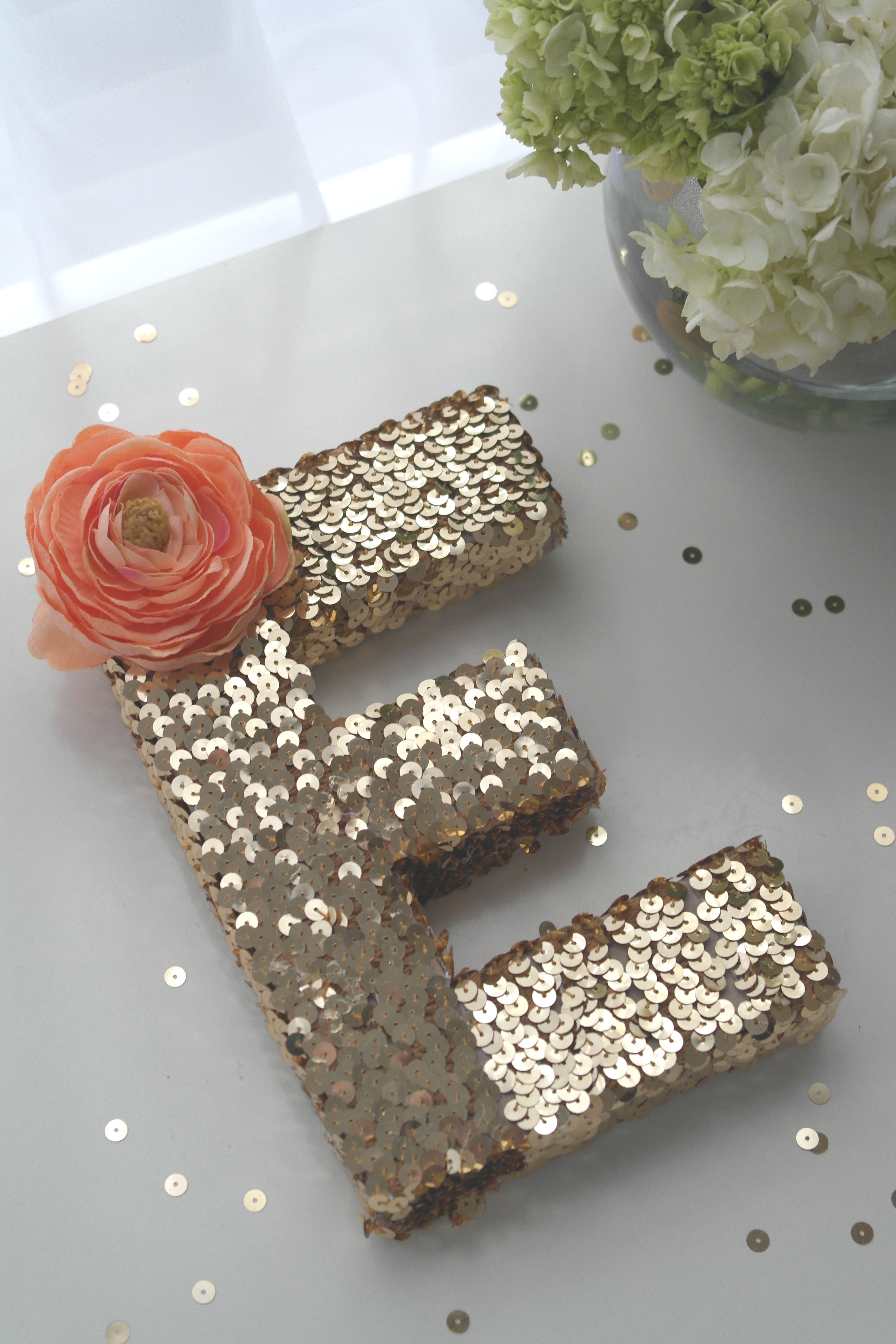 sequin monogram letter diy