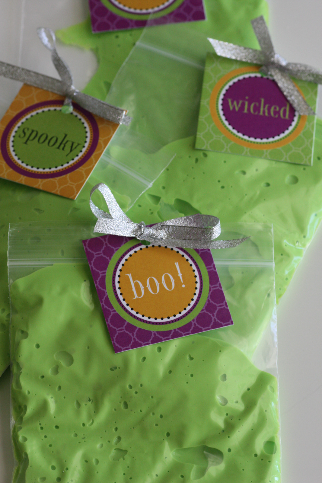 Slime halloween party favors catch my party for Halloween party favor ideas