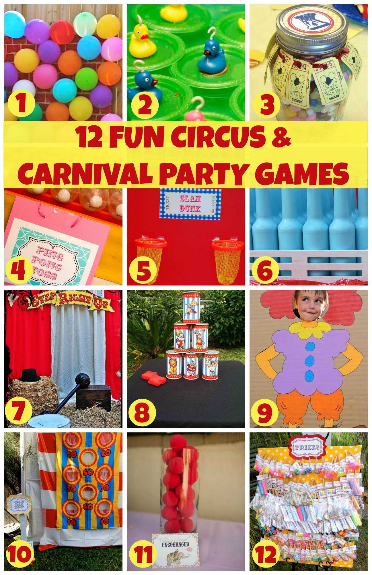 Carnival Theme Party Ideas Decorations Part - 39: 12 Fun Circus Carnival Party Games