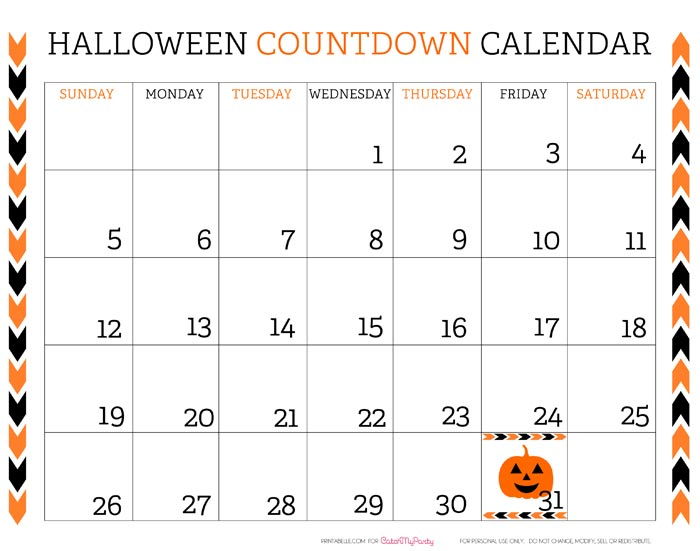... Calendar 2013 Free printable halloween countdown calendar catch my