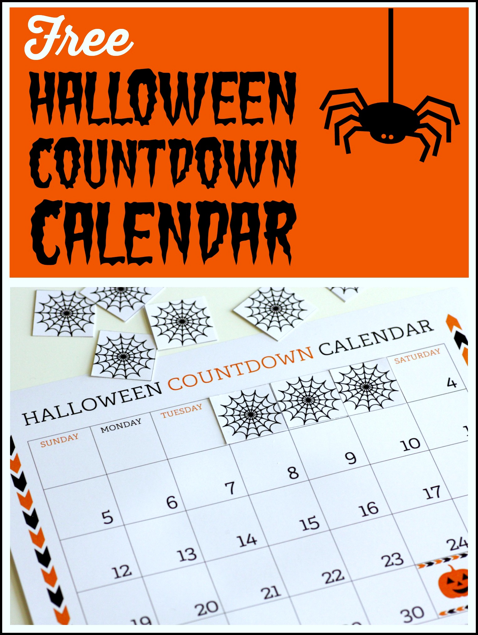 image about Countdown Calendar Printable named No cost Printable Halloween Countdown Calendar Capture My Celebration