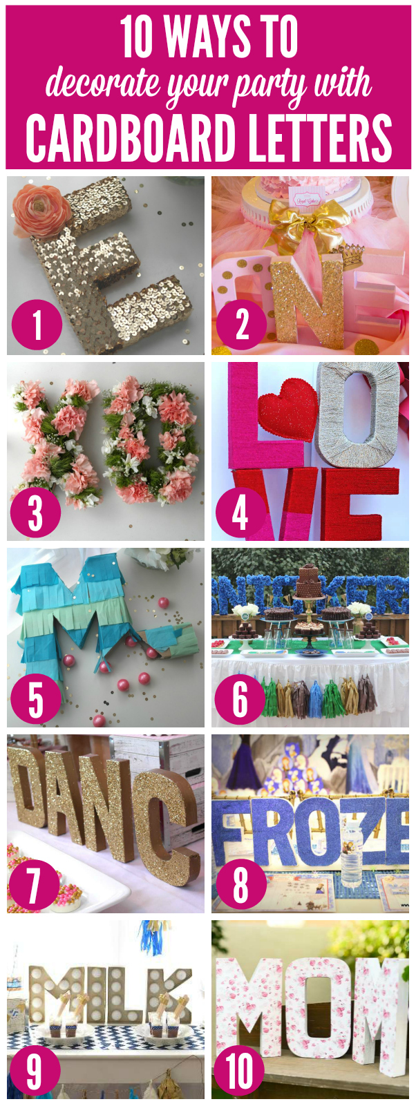 10 ways to decorate your party with cardboard letters for Alphabet decoration