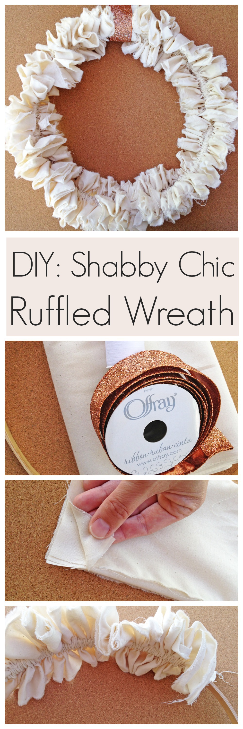 shabby chic ruffled wreath diy catch my party. Black Bedroom Furniture Sets. Home Design Ideas