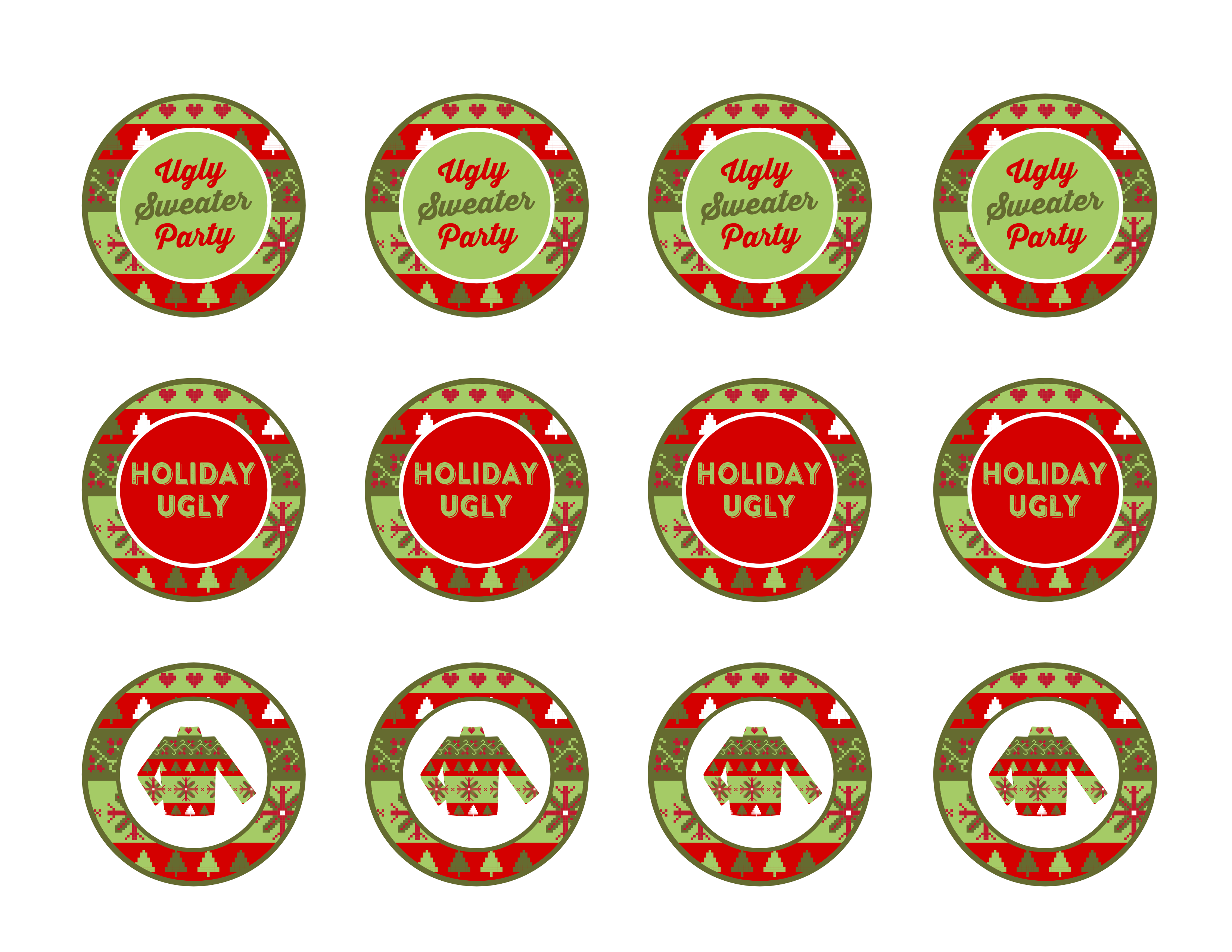 download the free ugly sweater printables here