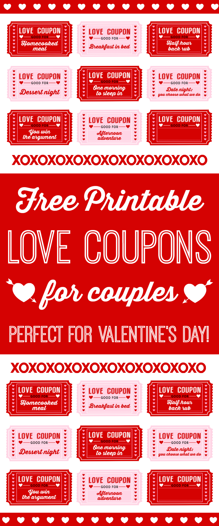 Love coupons are little IOU's that your loved one can cash-in the next time they're in the mood for a romantic, fun, or even sexy experience! For example, say your boyfriend or girlfriend loves back massages - give them a