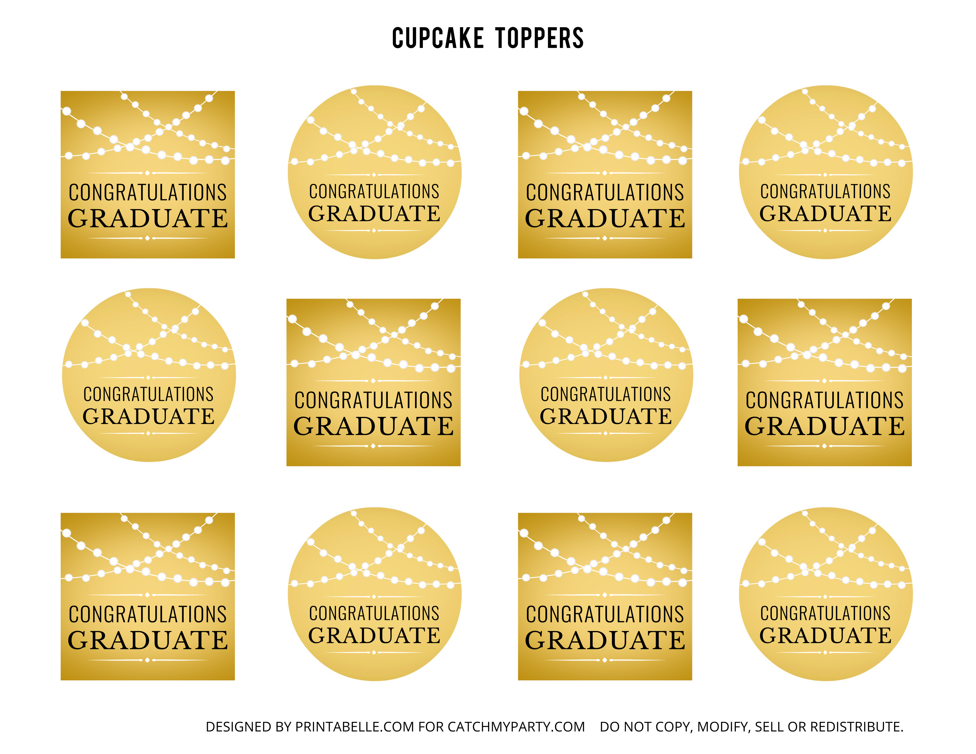 Free Gold Graduation Printables | Catch My Party