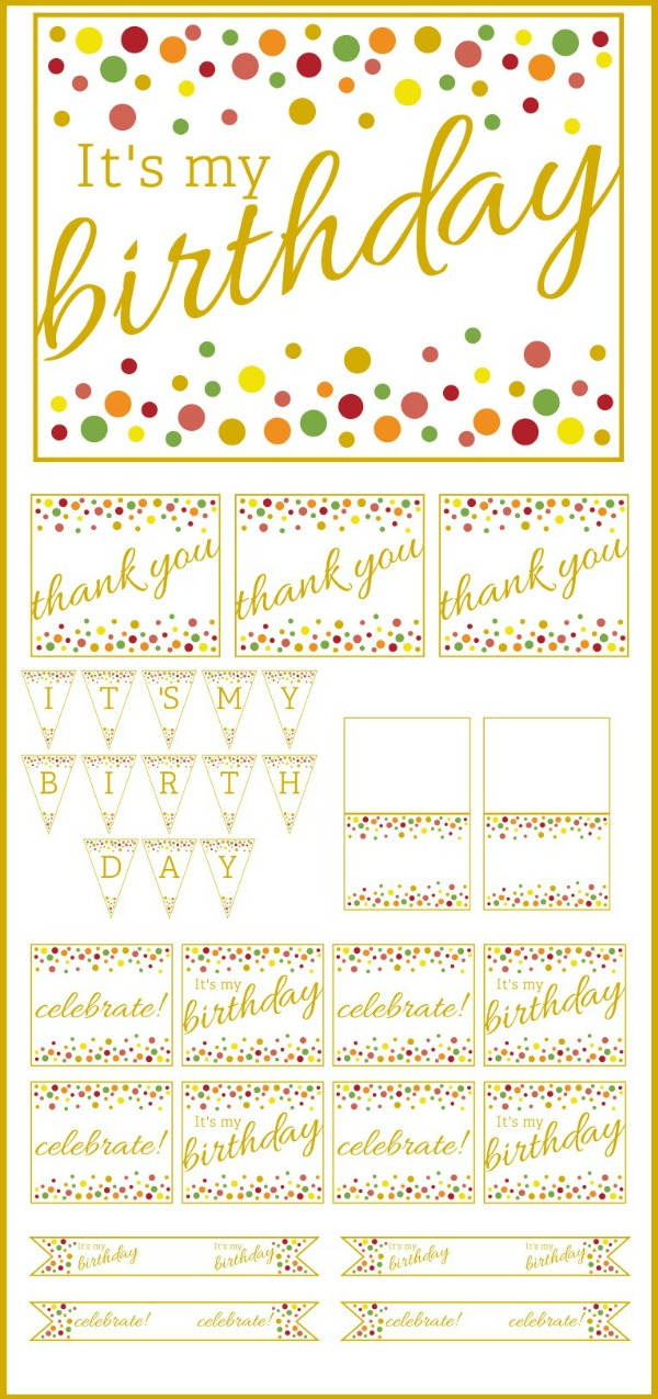 free gold and polka dot birthday printables catch my party. Black Bedroom Furniture Sets. Home Design Ideas