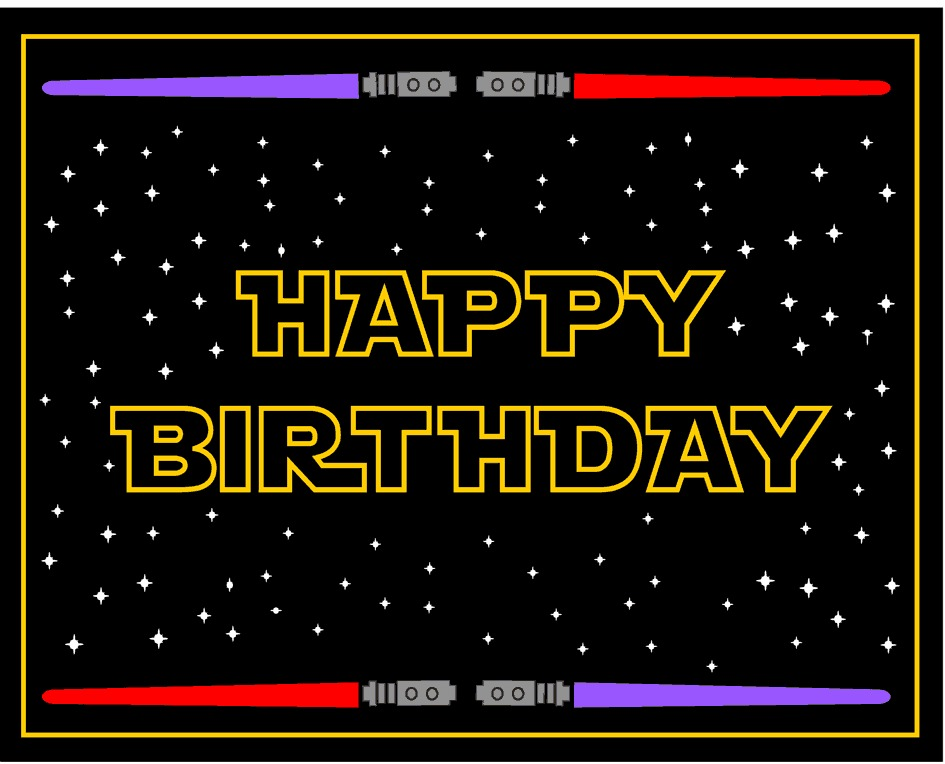 Witty image with star wars birthday card printable