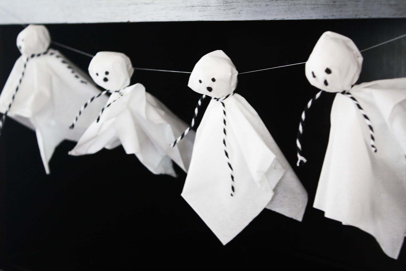 Halloween Tissue Ghost Garland Diy Catch My Party