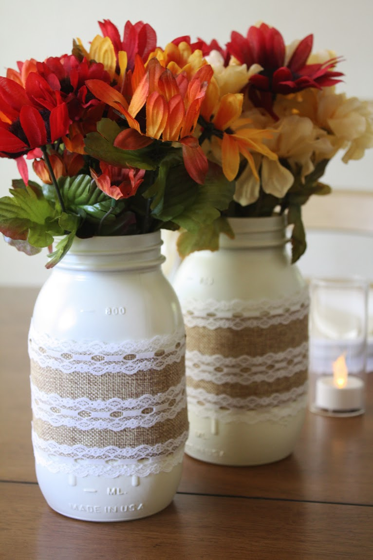 Magnificent Burlap And Lace Mason Jar Centerpieces Catch My Party Interior Design Ideas Oxytryabchikinfo