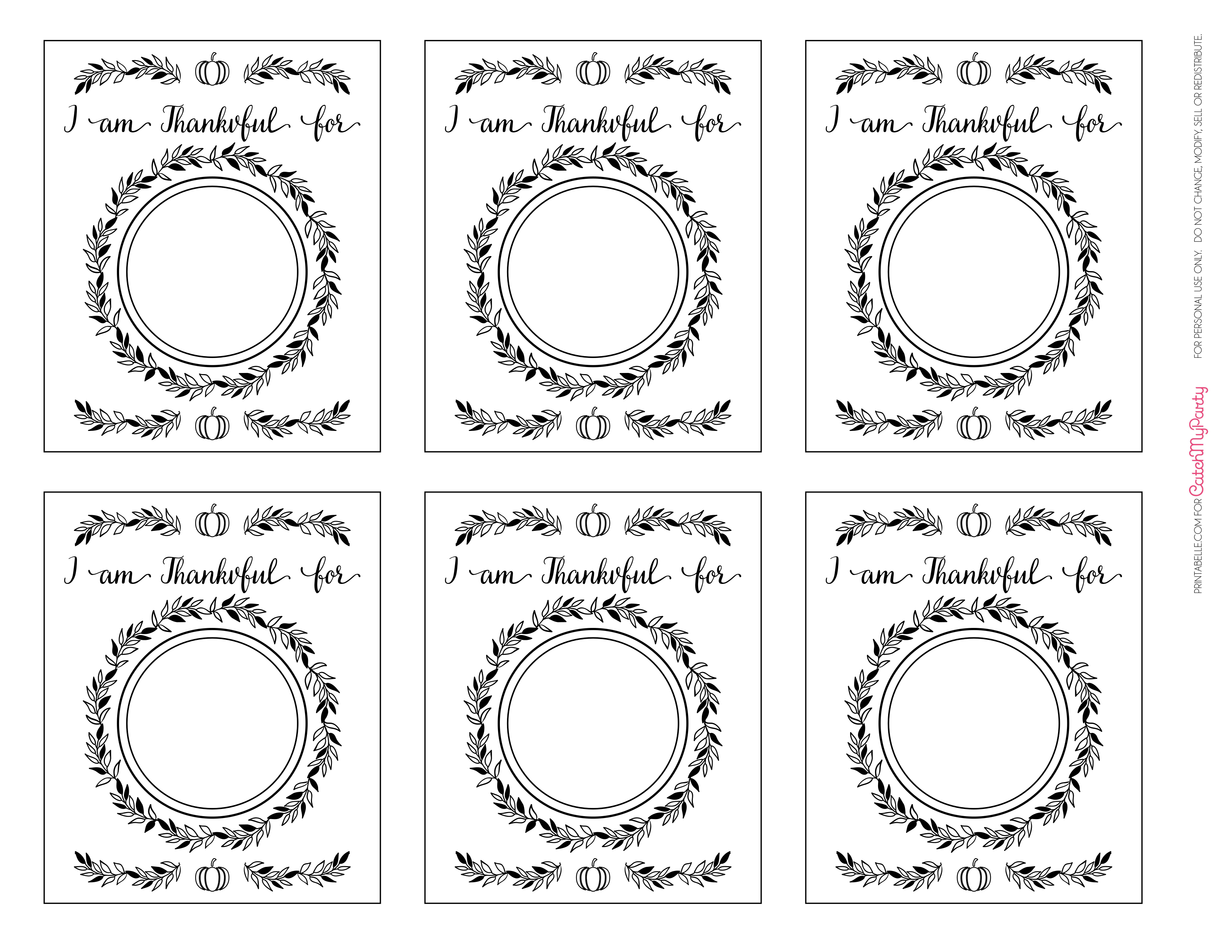 graphic about I Am Thankful for Printable named Free of charge Printable \