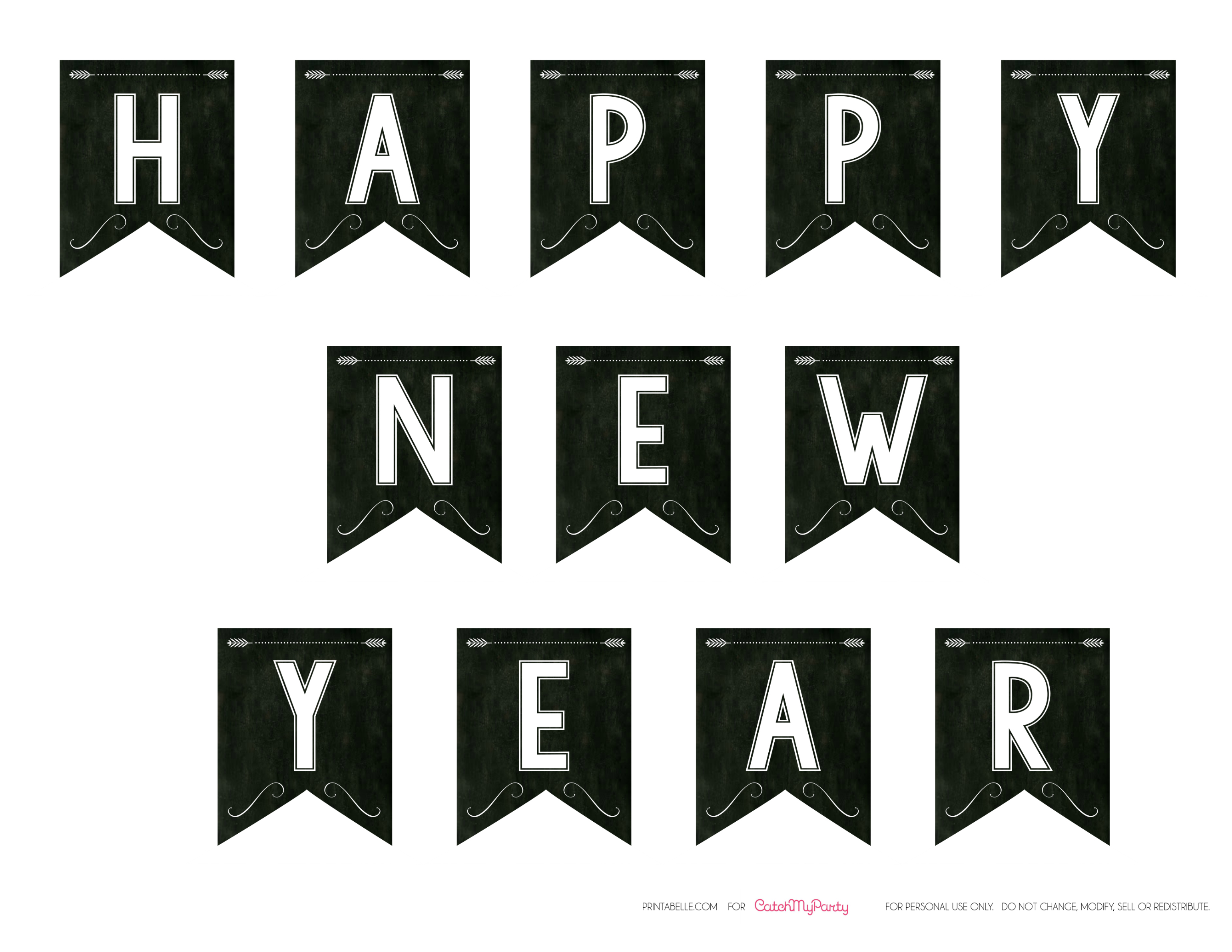 Happy New Year Printable Banner Free chalkboard new year's party ...