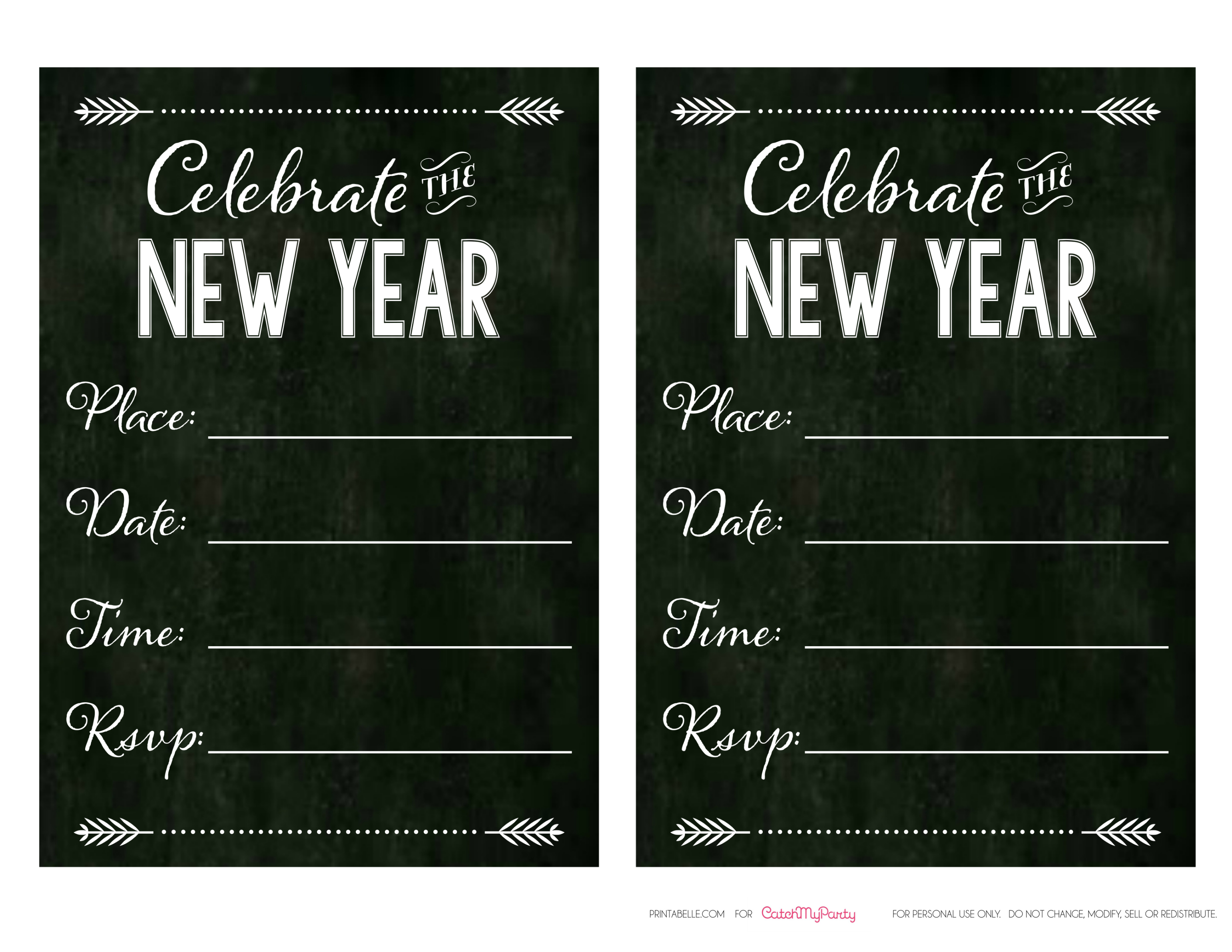 Free Chalkboard New Year\'s Party Printables -- Full Set! | Catch My ...