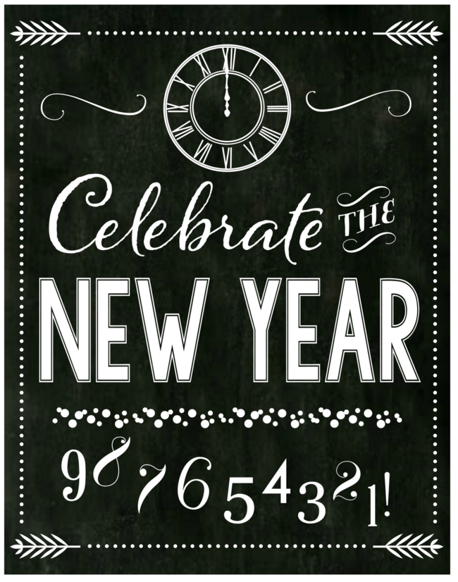 Free Chalkboard New Year's Party Printables -- Full Set ...