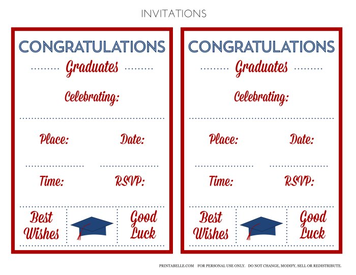 free red & blue preppy graduation party printables | catch my party, Invitation templates