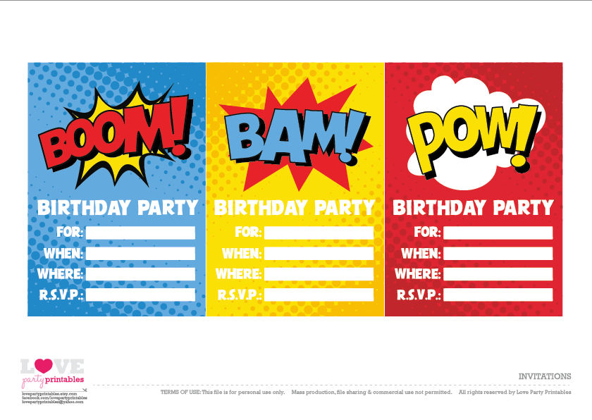 Unusual image within free printable superhero birthday invitation templates