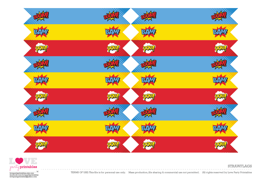 Superhero Party Free Printables - Straw Flags | CatchMyParty.com