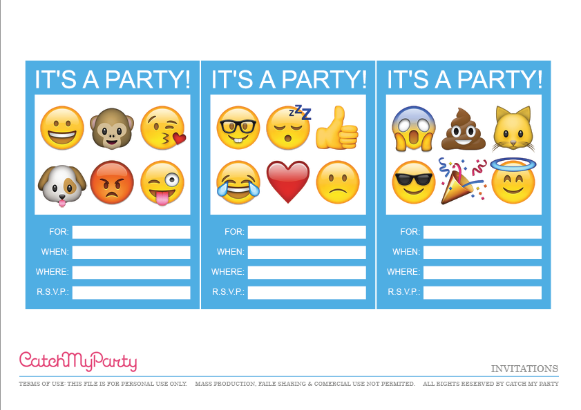 free emoji party printables | catch my party, Invitation templates