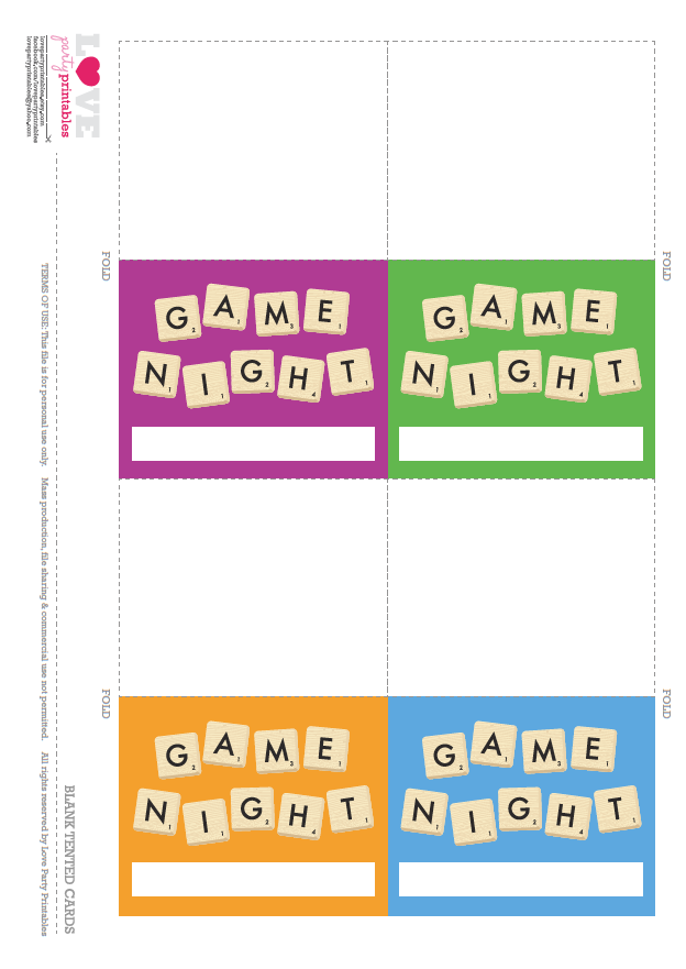 free game night party printables