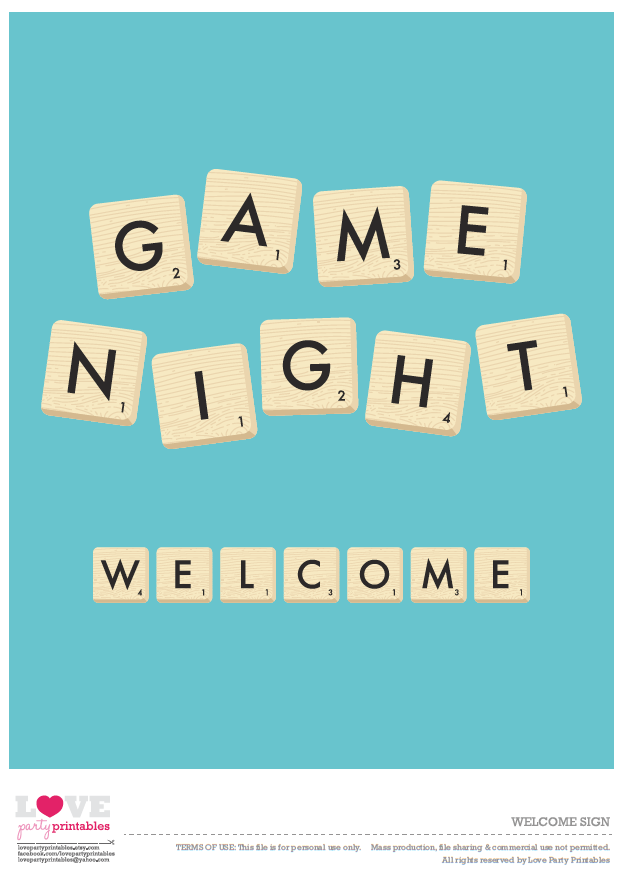 Free Game Night Party Printables | Catch My Party