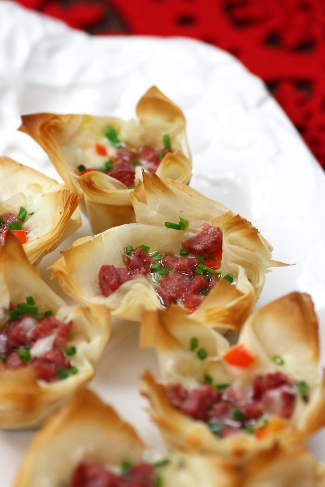 Sachsenk Chen garlic sausage pesto appetizer bites catch my