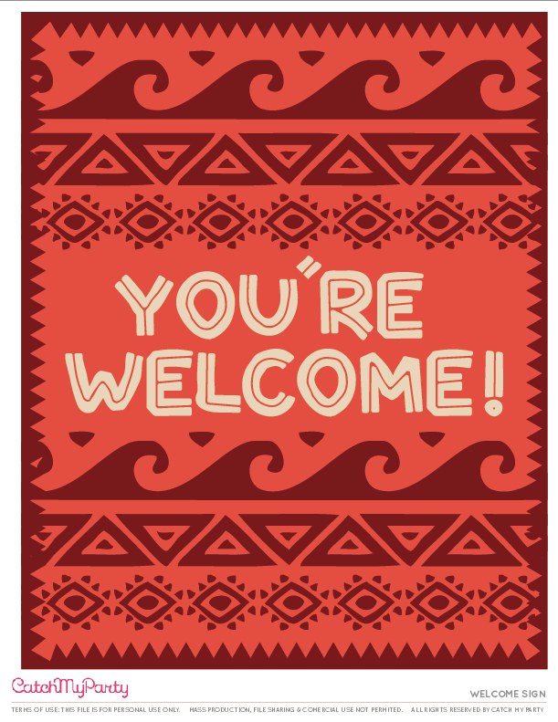 Moana Themed Party Welcome Sign