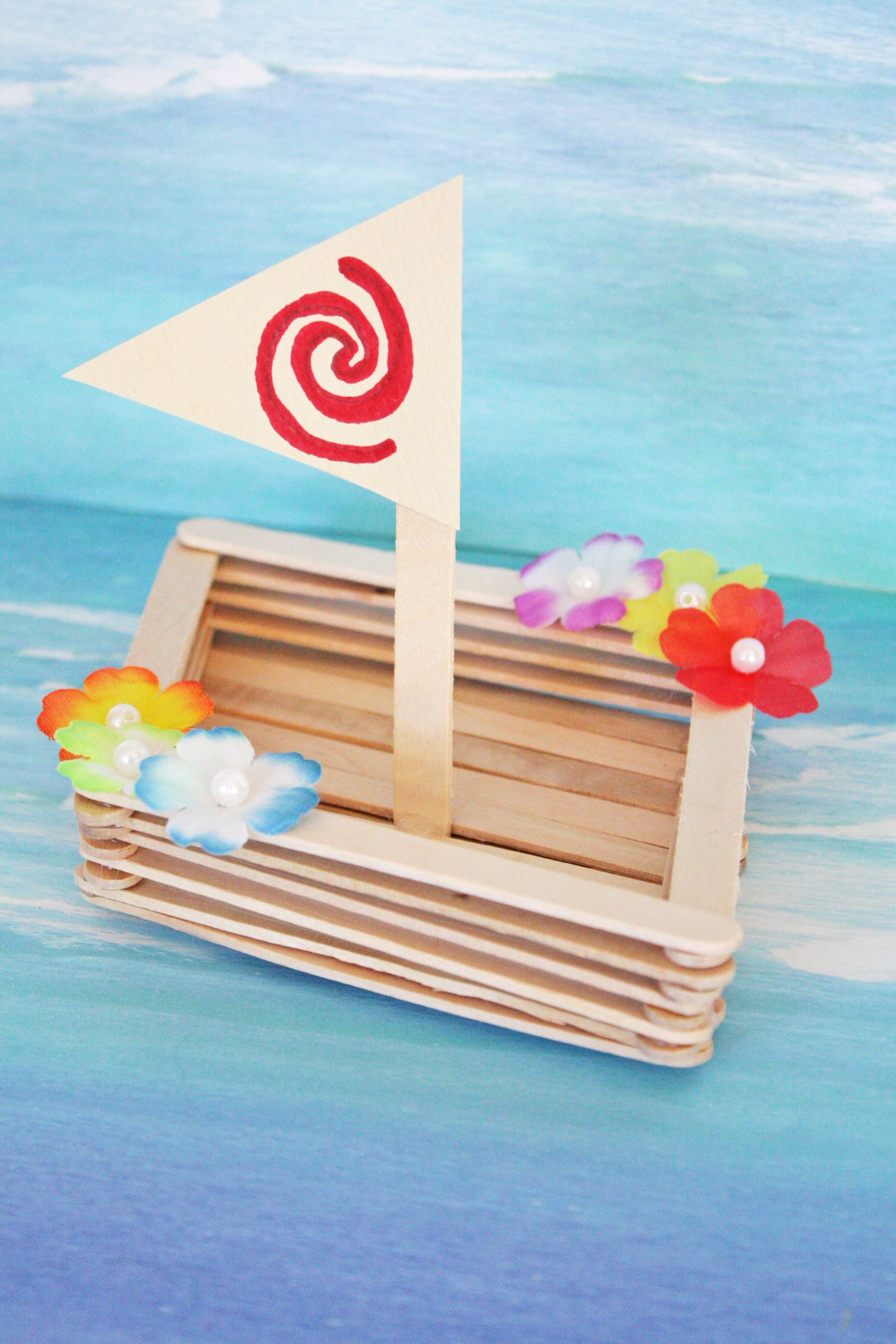 Moana canoe craft catch my party for Glace decoration