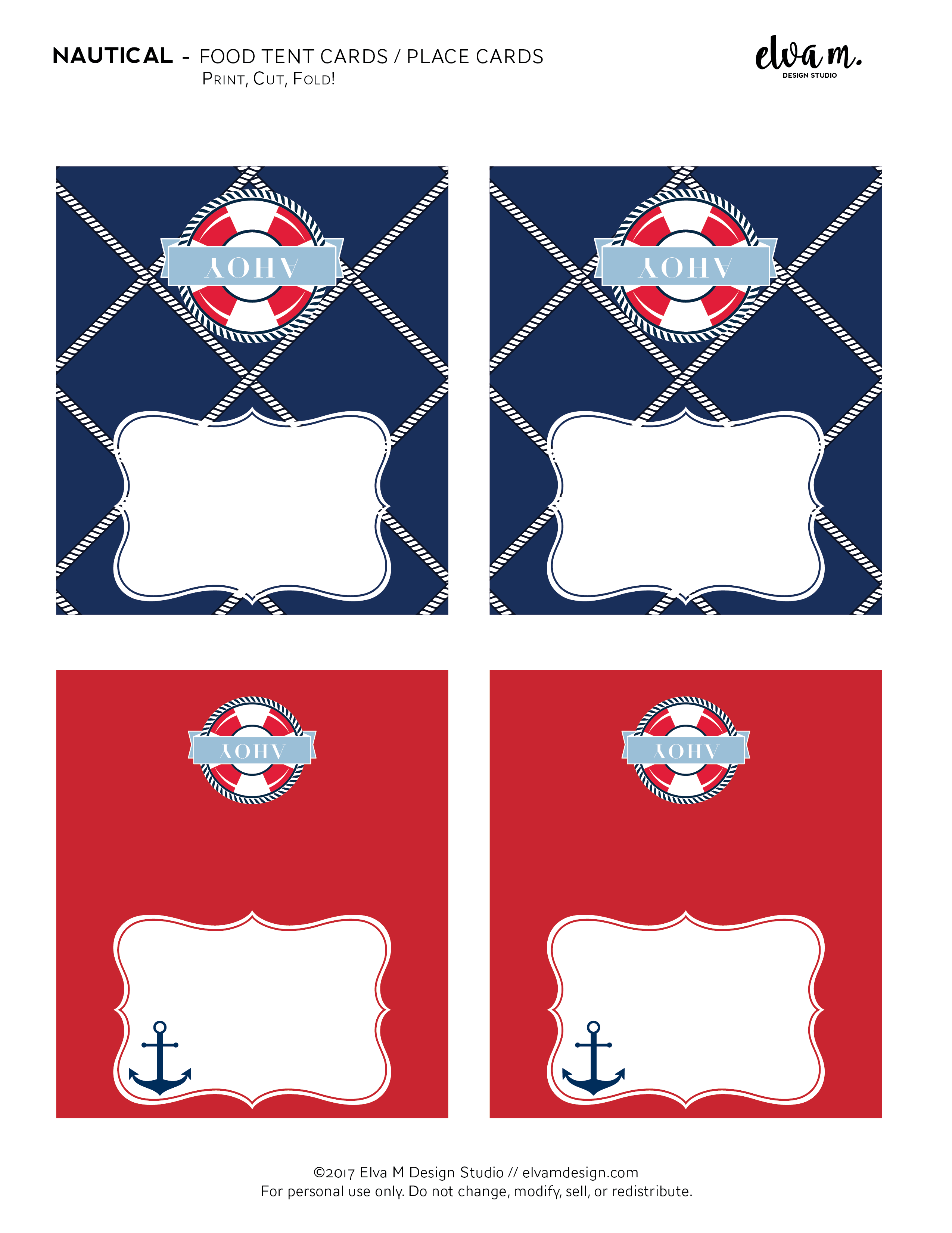 Food Tent Cards Place Free Nautical Birthday And Baby Shower