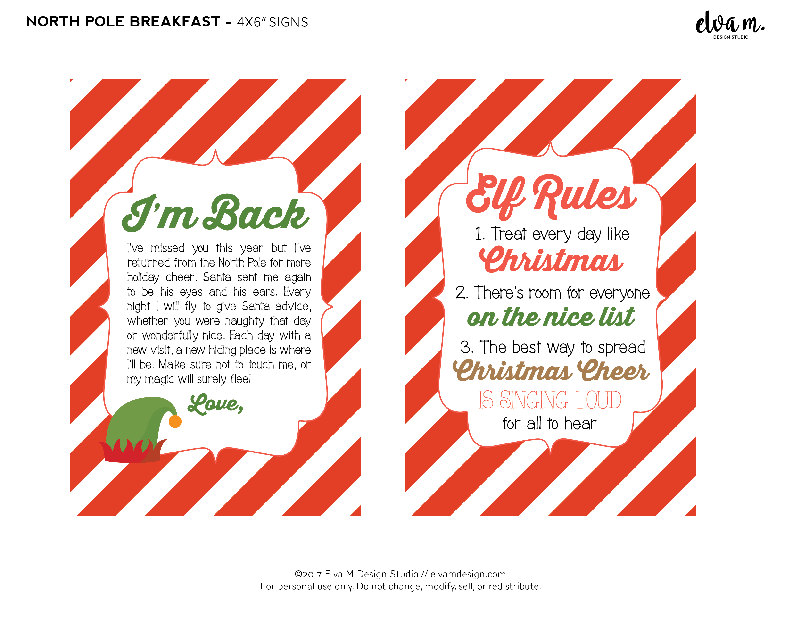 Download These Free Elf On The Shelf North Pole Breakfast Printables Catch My Party